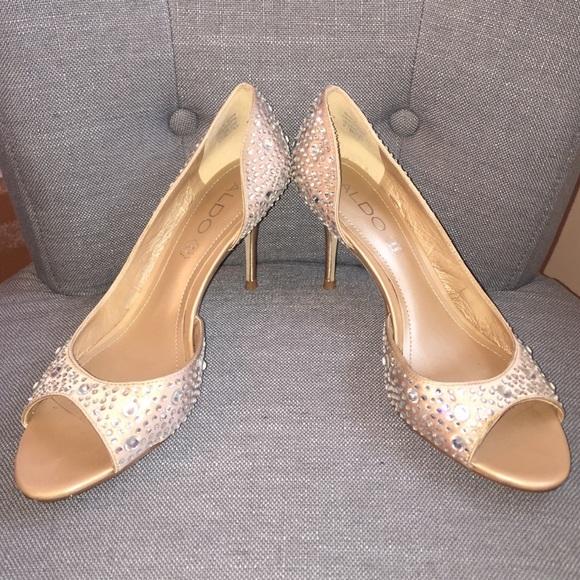 52e51a61e8e Aldo Shoes - Champagne ALDO sparkle Kitten heel