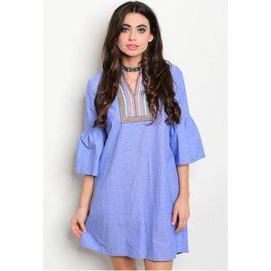 GlamVault Dresses & Skirts - Chambray Boho Bell Sleeve Embroidered Dress