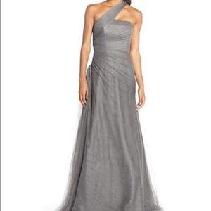Monique Lhuillier Dresses & Skirts - Monique Lhuillier bridesmaid silver tulle dress