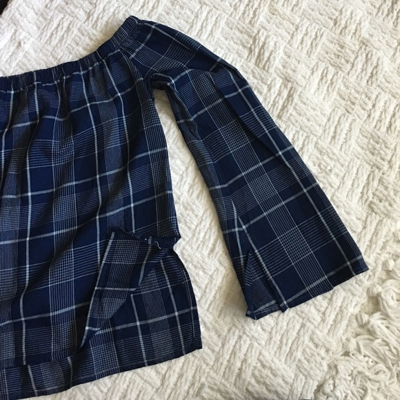 Anthropologie Tops - Cloth & Stone Plaid Blue Off-the-shoulder Top