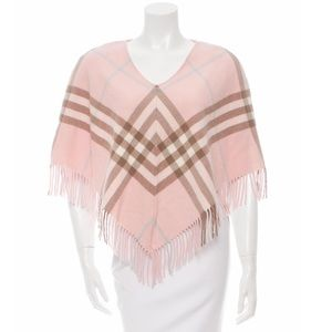 Burberry London Nova Check Pink Wool Poncho