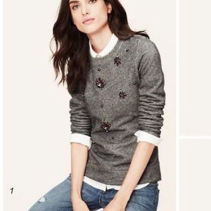 NWT! Ann Taylor LOFT Gray Embellished Sweater S