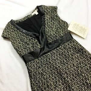 Boston Proper Dresses & Skirts - BOSTON PROPER Tweed & Leather Dress. NWT
