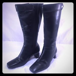 Naturalizer Shoes - NATURALIZER Black Leather Heeled Boots