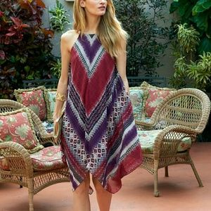 Macy's Dresses & Skirts - Bohemian scarf red purple white dress from macys
