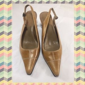 Two Lips Shoes - TWO LIPS Tan Leather Slingback Heels