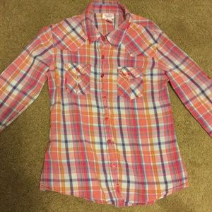 Justice Other - Justice Long sleeve pink plaid button down shirt