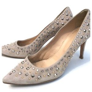 J CREW Everly stud gray Heels shoes 8 1/2 8.5