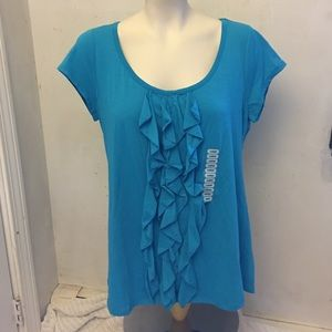 Grace Elements Tops - Teal ruffle front top