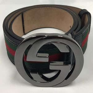 Gucci Other - Gucci Black, Red and Green Stipe Belt