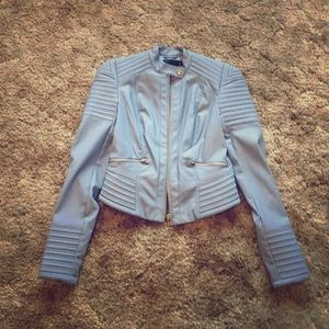 Super cute ASOS faux leather jacket in sky blue
