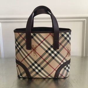 Burberry Handbags - Burberry Haymarket Small Tote 100% Authentic