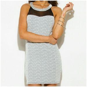 Grifflin Paris Dresses & Skirts - Sexy silver beaded neck mesh panel dress