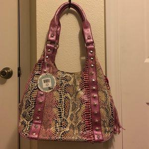 Lou-Ella purse w/pink faux snake skin