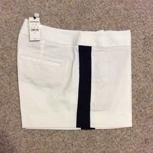 Express Pants - White Tuxedo Shorts