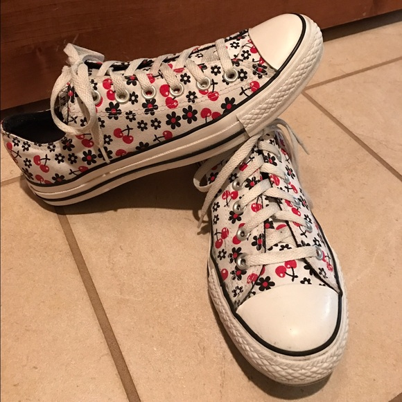 9fd6983cccc Converse Shoes - Vintage Converse Red cherry and flowers.