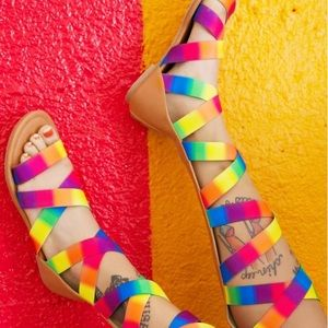 Shoes - Rainbow Strappy Festival Sandals