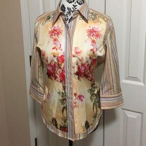 Robert Graham Tops - Robert Graham floral striped button up shirt