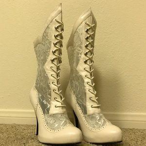 Funtasma Shoes - Ivory Funtasma Victorian heeled Boots