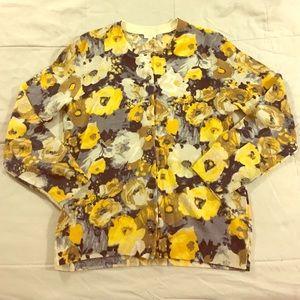 J. Crew Sweaters - Jcrew Wool Floral 3/4 Sleeve Slim Fit Cardigan