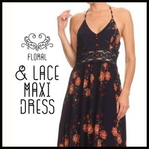 Boutique Dresses & Skirts - T-Back Floral Maxi Dress