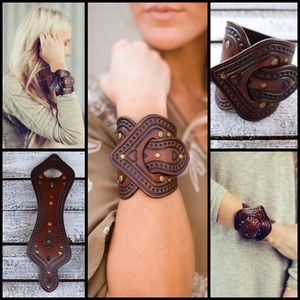Karen Kell Jewelry - Overlap Saddle Leather Cuff