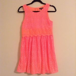 Sequin Hearts Other - Neon Orange Lace Girl's Dress