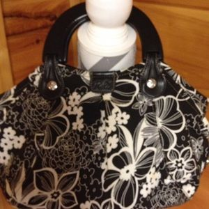 Relic Handbags - Black and white relic purse wooden handle