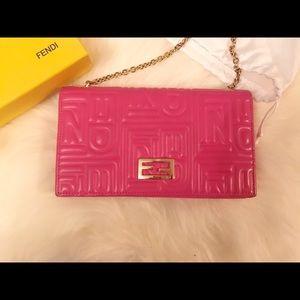 SOLD 😜pink  Fendi lamb skin wallet on chain