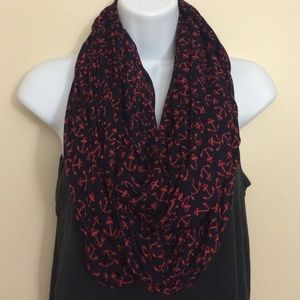 LOFT Navy and Red Anchor Infinity Scarf