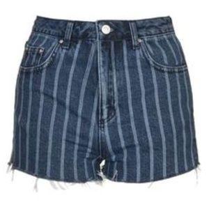 Topshop PETITE Pants - NWOT Topshop Moto mom striped cutoff shorts