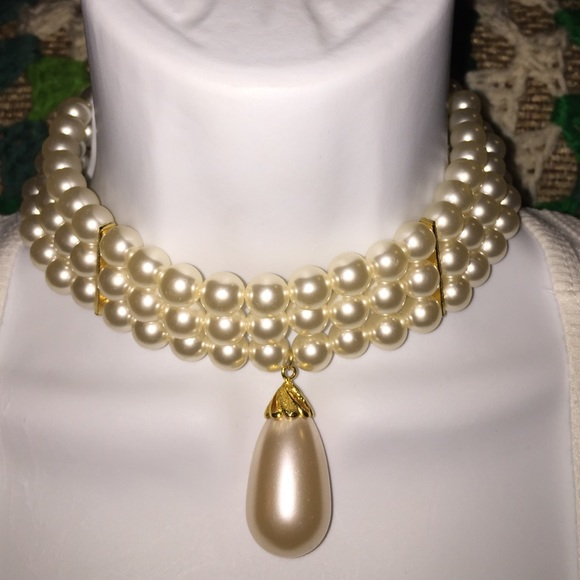 Avon Jewelry Vtg Multistrand Faux Pearl Choker Necklace Poshmark