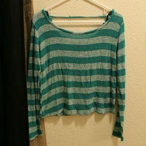 F21 Medium Blue stripes Long-Sleeve Top