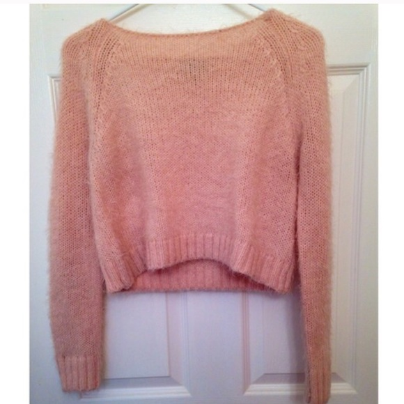 Topshop - Topshop Baby Pink Fuzzy Crop Top Sweater from Chanel's ...