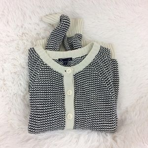 GAP blue+white button up knitted cardigan