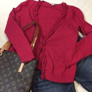 LOFT Sweaters - Ann Taylor LOFT cranberry ruffle cardigan