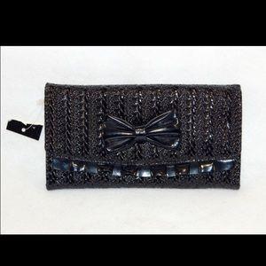 Handbags - Trendy NWOT Black Patent Style Ruffle Wallet
