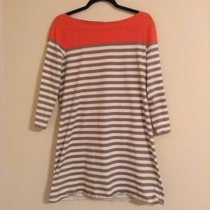 Old Navy Dresses & Skirts - Old Navy Orange Gray and White Fitted Dress