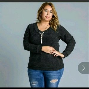 Sweaters - One left! Womens Plus Size V Neck Sweater