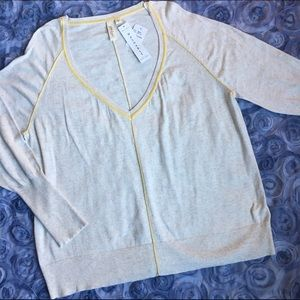 Yansi Fugel Sweaters - Yansi Fugel Ivory/Yellow V-Neck Sweater
