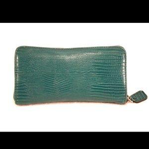Handbags - Super Cute Animal Print Embossed Teal Zip Wallet