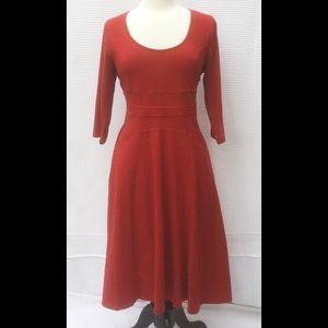 New Eshakti Red Knit Fit Flare Midi Dress L 14