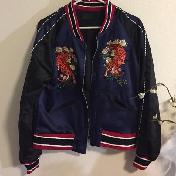 KNVAZ Jackets & Coats - KNVAZ Embroidered Tiger Bomber