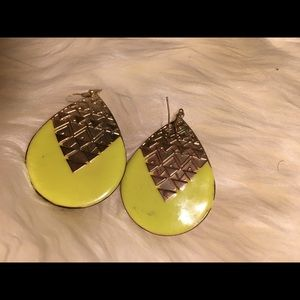 Lime green and gold earrings