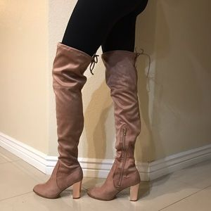 21d26aedb Catherine Malandrino Shoes | Rose Gold Pink Suede Thigh High Boots ...