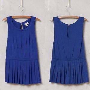 Anthropologie Tops - 💙💎Anthropologie Pleated Peplum Tank, RoyalBlue💍