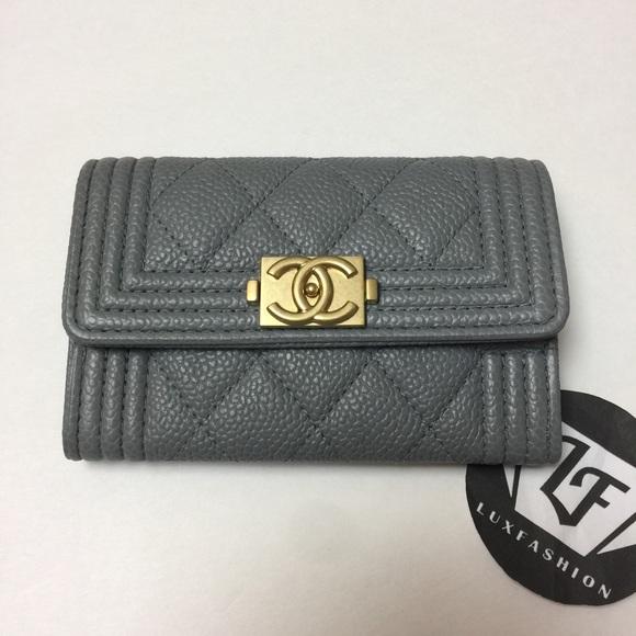 1edcf11011871b CHANEL Bags   Auth Boy Card Holder Case Gray Caviar Ghw   Poshmark
