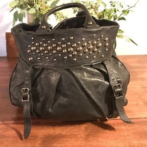 Bloomingdales  Handbags - TREESJE BLACK STUDDED LEATHER BAG/BLOOMINGDALES