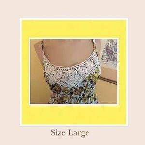 No Boundaries Tops - Women's LG Floral Crochet Halter Top