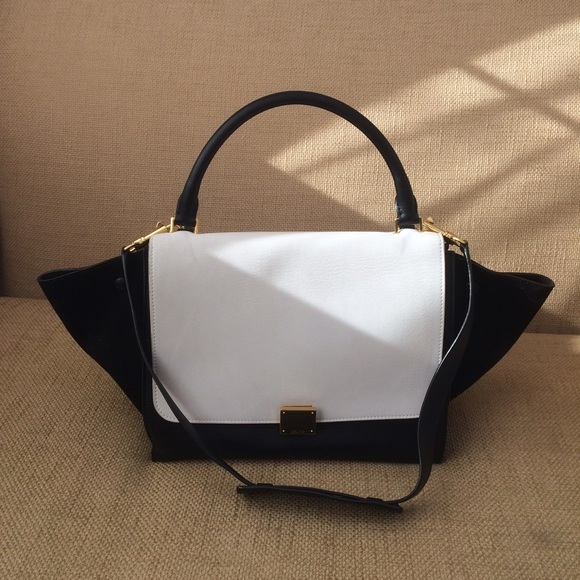 Celine Black and White Medium Trapeze Bag